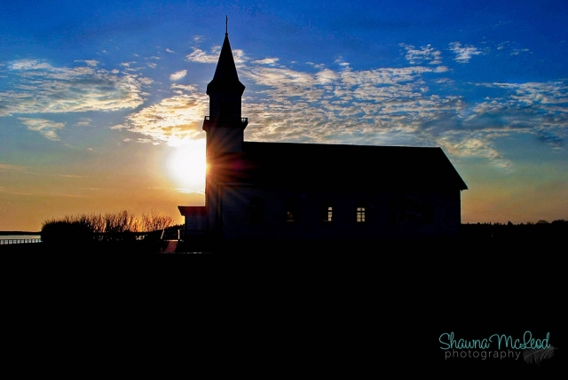 Church, Fort Providence, Blue Sky, Sunset, Willows