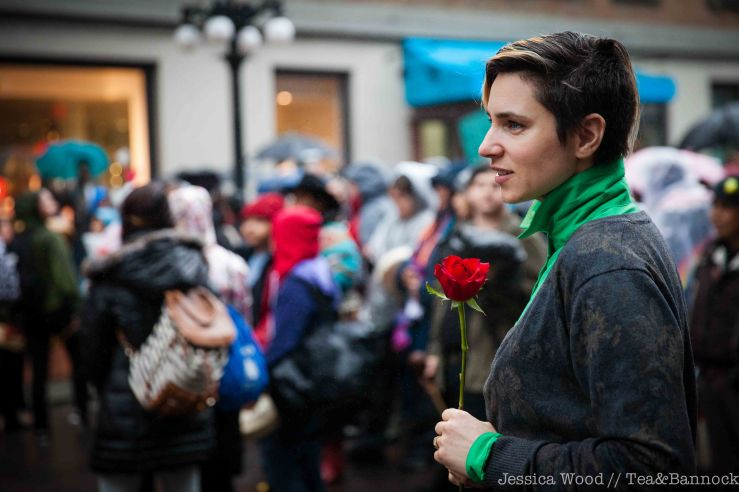 Megan Branson marching in solidarity