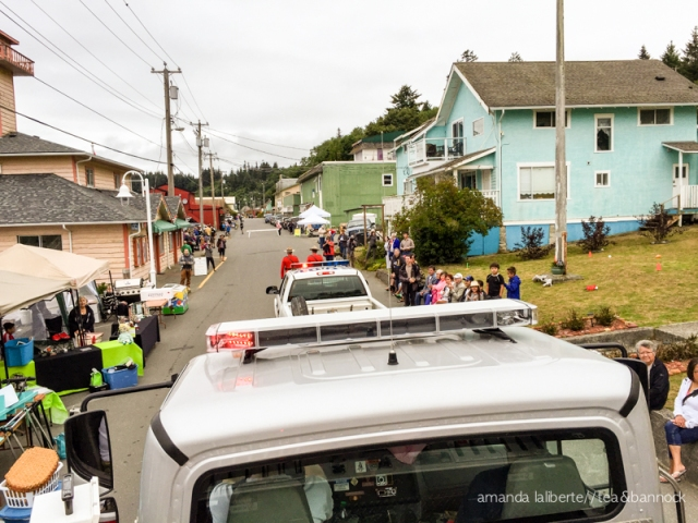 The morning we got to ride on top of a fire truck and throw candy to the kids and adults at the annual Seafest parade.